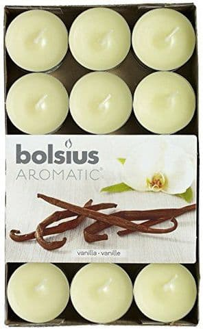 Bolsius Aromatic Tealight Candles Scented Tealights Vanilla Pack 30