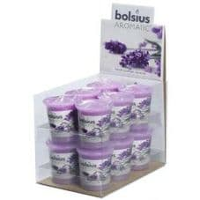 Bolsius Aromatic Votive Mushroom Candles Scented Votives Lavender Fragrance Pack 12