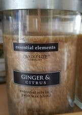 Candle-Lite Company Essential Elements 10oz 283g Essential Oils in Palm Wax Ginger & Citrus Blend Candle Jar