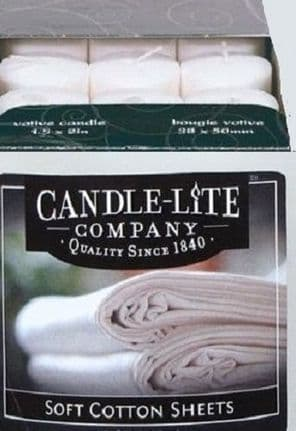 Candle-Lite Scented Soy Wax Votive Candle. Box of 12 White Votive Candles in Soft Cotton Sheets Fragrance