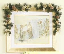 Decorative Swags - Pair of Gold & Cream Frame Christmas Swags