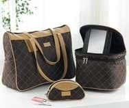 Ladies Cosmetics Brown + Tan Bag Set of 3 Matching Large Day Bag Make Up Purse + Cosmetics Case