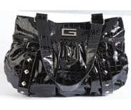 Ladies Mock Crock Handbag Black Glossy