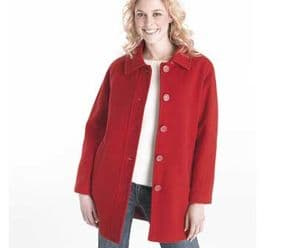 Ladies Red Wool 3/4 Length Gorgeous Lined Winter Coat Size 14