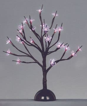 Premier Battery Operated Cherry Blossom 24 LED Lights  With Timer 35cm Pink