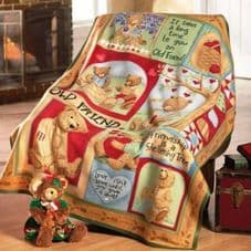 Premier Teddy Bear Design Soft Fleece Bed Throw Blanket 160cm x 130cm PL111671