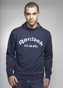 Reebok Classic Mens Sports Hoody Top Navy Blue with Lilac Embellishment Size Medium