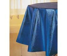 Tablecloth Metallic Blue Stylish Circular Table Cloth Wipe Clean Covering 152cm (60 inch) Round