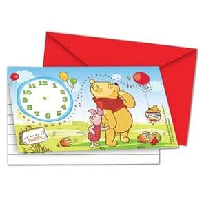 Winnie the Pooh Disney Party tableware theme clock time Invitations Pack 6