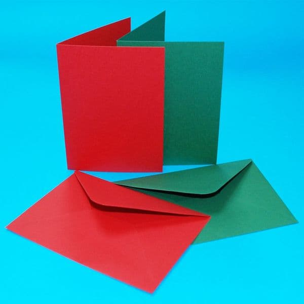 40 Craft UK A6 Card Blanks Red & Green