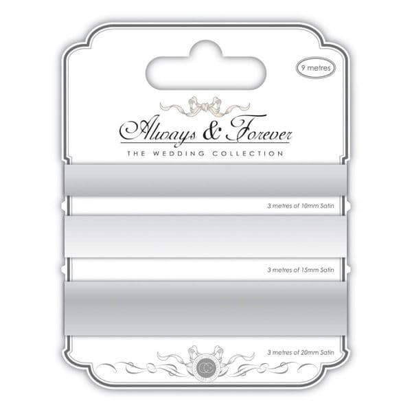 Always & Forever Satin Ribbons - Silver