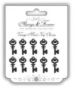 Always & Forever Vintage Metal Charms - Silver Keys