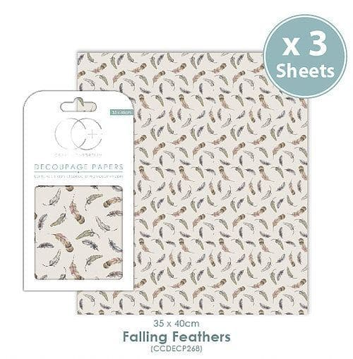 Craft Consortium Decoupage Papers Falling Feathers