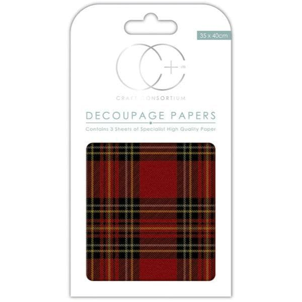 Craft Consortium Decoupage Papers Tartan