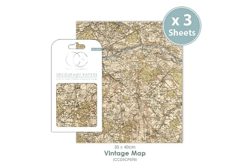 Craft Consortium Decoupage Papers Vintage Map