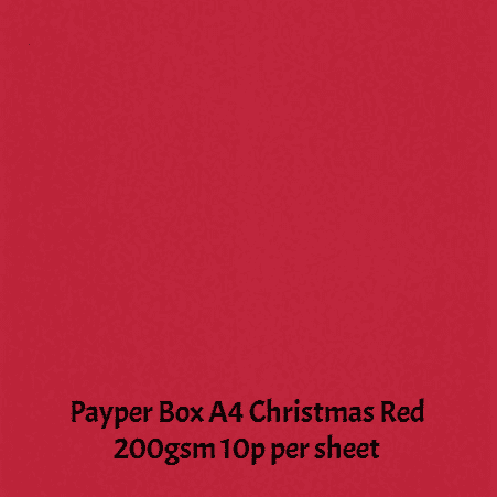 Payper Box A4 Christmas Red  200gsm Card - 1 Sheet