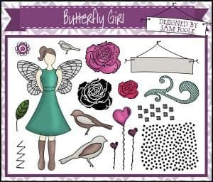 U-mount Butterfly Girl A5 Stamp Plate