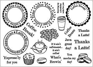 U-mount Coffee Time Clear Cling Stamps