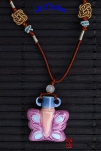 Aromatherapy Necklace  Pink Butterfly mini Amphora and Jade bead thread