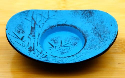 Bamboo blue coaster for Cast Iron cup  10.5cm