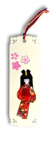Bookmark, Gift Tag, Card topper Handmade  Sweet Geisha girl with Japanese washi paper