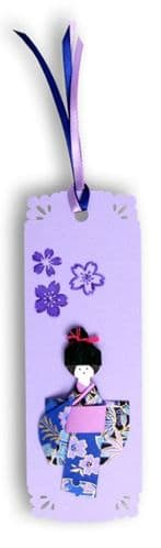 Bookmark, Gift tag, Card topper Handmade   Geisha purple with Japanese washi paper