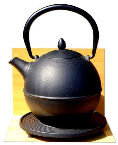 Cannon Ball & trivet - Japanese style Tetsubin cast iron black tea pot kettle 0.7 Litre