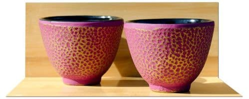 Cast iron tea cup X2 Hammered surface pattern design  Mulberry on gold colour
