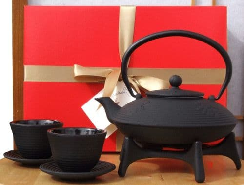 Gift Box - Cast Iron black calligraphy Tetsubin teapot kettle cups and star trivet  - 0.8 litre