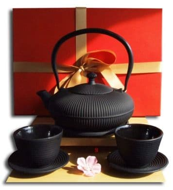 Gifts Box  Cups Trivet & Tetsubin Cast Iron Zen Mountain black teapot kettle 0.8 litre Japanese sty