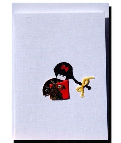 Greetings card Handmade  Small geisha girl with fan.
