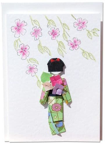 Handmade Greetings card  Cherry Blossoms in the breeze with green origami Geisha