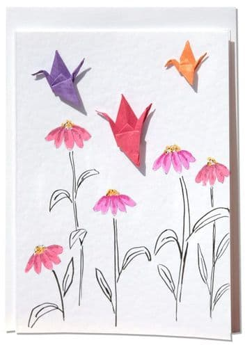 Handmade Greetings card   Colourful Origami Cranes Amongst Pink Cone Flowers