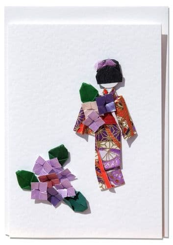 Handmade Greetings card  Geisha  gathering summer hydrangea flowers purple