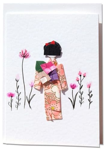 Handmade Greetings card   Pink origami Geisha in a field of wildflowers