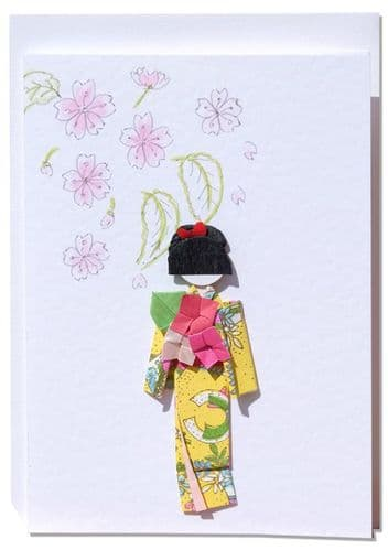 Handmade Greetings card  Spring Cherry Blossoms with yellow origami Geisha