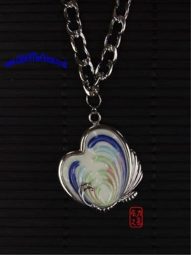 Necklace Heart shaped Butterfly & silver necklace