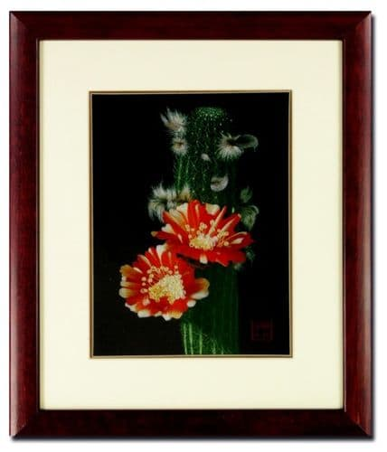 Silk Embroidery picture  Cactus Blossom by Chinese Master Craftswoman of the Gu family