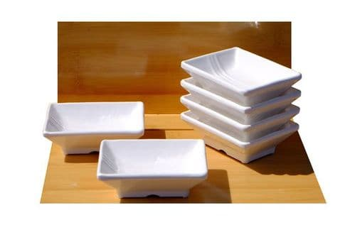 White contemporary striped rectangular melamine dishes X6 Melamine plastic