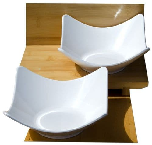 White medium contemporary square 16cm bowls melamine x2  Melamine plastic