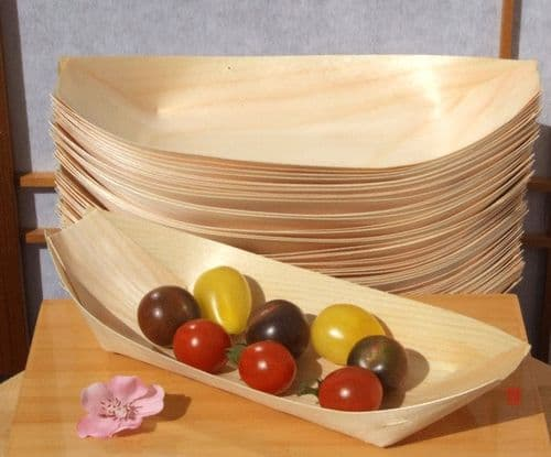 Bamboo Wood Boats Large x500 for party foods, snacks, nibbles, canapé 225X125mm