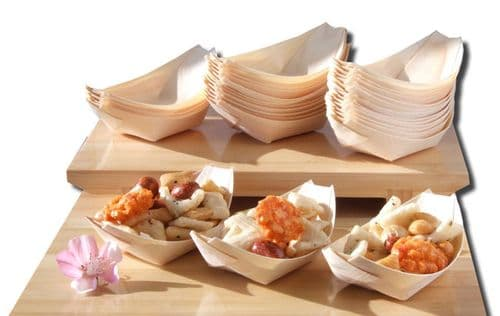 Bamboo Wood Boats x500 for party foods, snacks, nibbles, canapé 115X75mm - GOTO