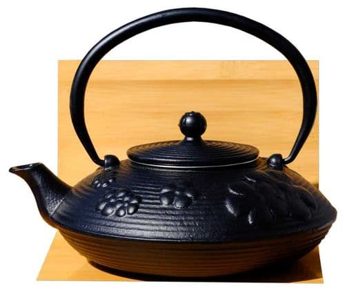 Black Tetsubin style Cast Iron Teapot Kettle with  Spring Flower design 0.8 Litre