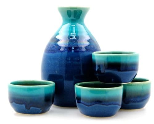Blue Lagoon sake set 4 cups- Japanese