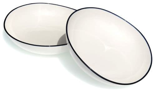 Blue rim Ocean Wave White ceramic bowls 20cm X2