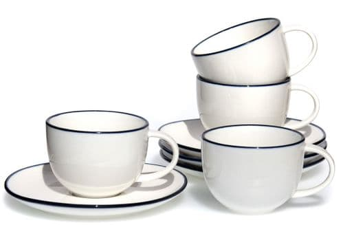 Blue rim Ocean Wave White ceramic cups & saucers x 4