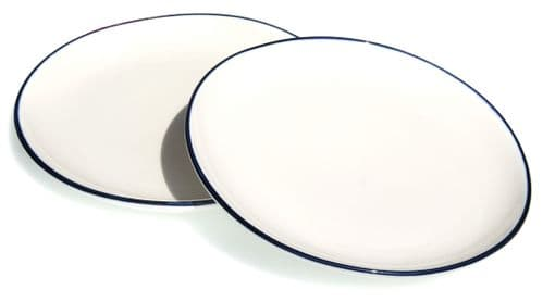 Blue rim Ocean Wave White ceramic medium plates 22cm X 2