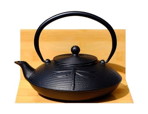 Cast Iron Black Dragonfly Tetsubin teapot kettle 0.8 litre Japanese style