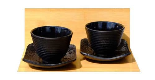 Cast iron Black Ripple tea cups and Square Flower saucers X2
