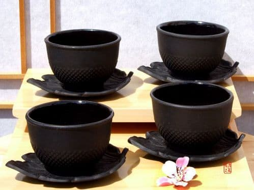 Cast iron hobnail tea cup and leaf shaped coaster X4